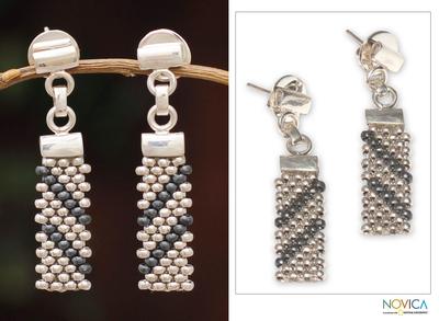 Sterling silver drop earrings, 'Diagonal Delight' - Sterling Silver Drop Earrings