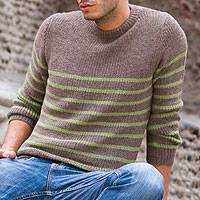 Men's alpaca blend sweater, 'Brown Cuzco Casual'