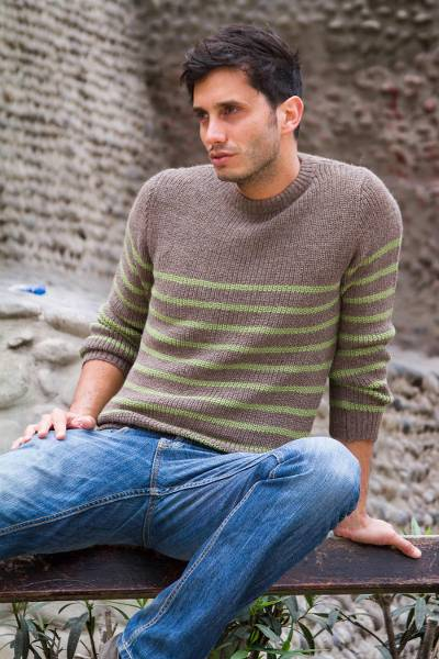 Men's alpaca blend sweater, 'Brown Cuzco Casual' - Men's alpaca blend sweater