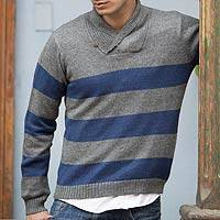Men's alpaca blend sweater, 'Cortijo Man in Blue' - Men's alpaca blend sweater