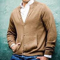 Men's alpaca cardigan, 'Classic in Camel'