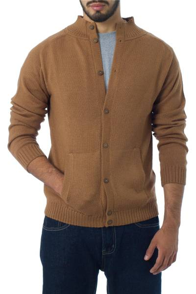Men's alpaca cardigan, 'Classic in Camel' - Men's alpaca cardigan