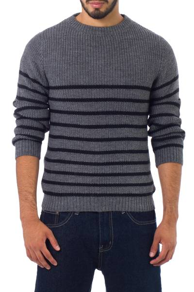 Men's alpaca blend sweater, 'Grey Cuzco Casual' - Men's Alpaca Wool Striped Sweater