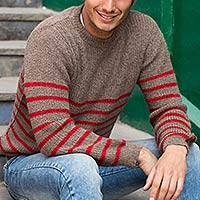 Men's alpaca blend sweater, 'Tan Cuzco Casual' - Men's alpaca blend sweater