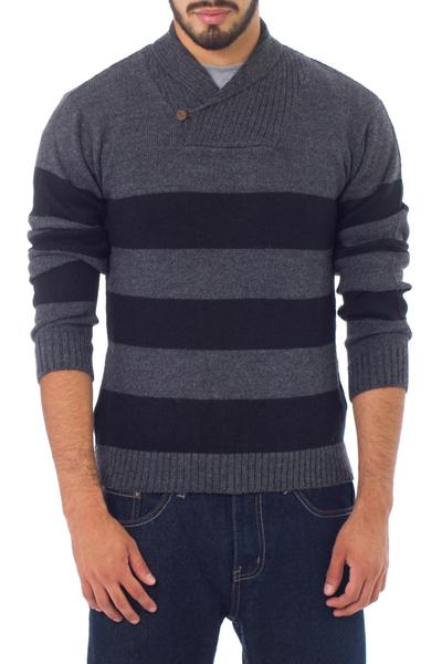 Men's alpaca blend sweater, 'Cortijo Man in Black' - Cortijo Men's Alpaca Wool Pullover Sweater
