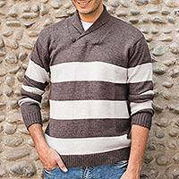 Men's alpaca blend sweater, 'Cortijo Man in Beige' - Men's Striped Sweater in Brown and Beige Alpaca Wool