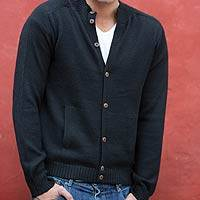 Men's alpaca blend cardigan, 'Classic in Black' - Men's Artisan Crafted Alpaca Wool Blend Cardigan