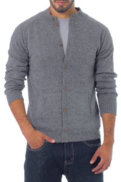 Men's alpaca blend cardigan, 'Classic in Grey' - Handcrafted Men's Alpaca Wool Cardigan