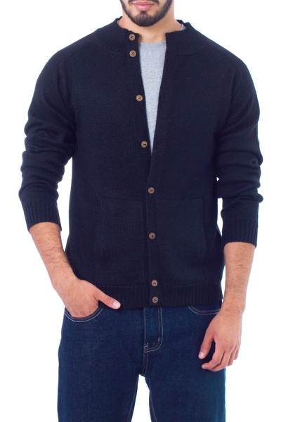 Men's alpaca blend cardigan, 'Classic in Royal Blue' - Fair Trade Men's Alpaca Wool Classic Blue Cardigan