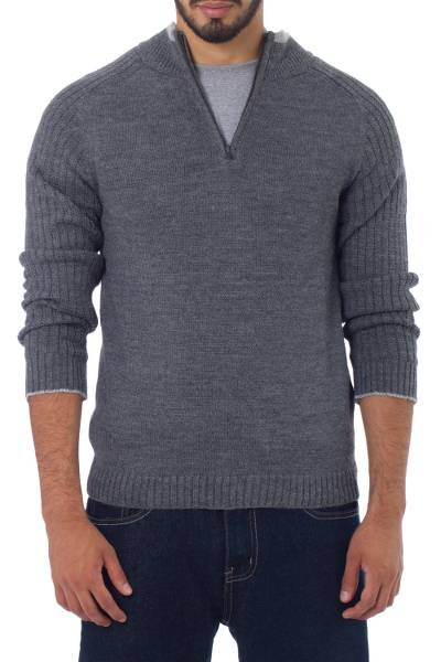Men's fitted alpaca blend sweater, 'Gray Fog Secret' - Peruvian Men's Alpaca Blend Sweater