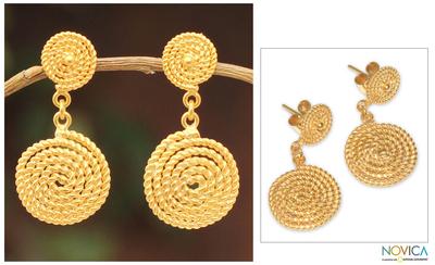Gold vermeil dangle earrings, 'Spiral Medallions' - Fair Trade Vermeil Dangle Earrings