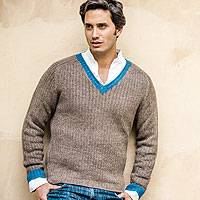 Men's alpaca blend sweater, 'Informal Brown' - Men's Alpaca Wool Blend Class V-Neck Sweater