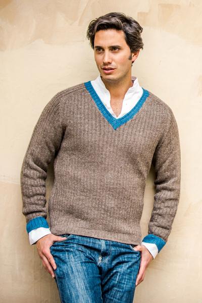 Men's alpaca blend sweater, 'Informal Brown' - Men's Alpaca Wool Blend Class V-Neck Sweater