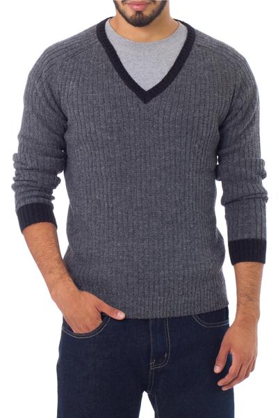Men's alpaca blend sweater, 'Informal Gray' - Men's alpaca blend sweater