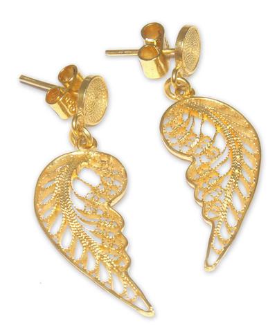 Gold vermeil filigree dangle earrings, 'Angel Wings' - Unique Vermeil Dangle Earrings