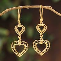 Gold vermeil filigree dangle earrings, 'Our Two Hearts'