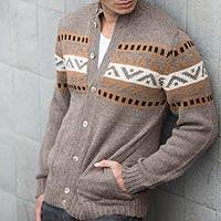 Men's alpaca blend sweater, 'Brown Inca Hills'