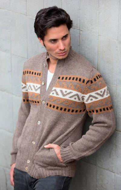 Men's alpaca blend sweater, 'Brown Inca Hills' - Men's Alpaca Blend Cardigan Sweater