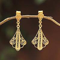 Gold plated filigree dangle earrings, 'Peruvian Lace'