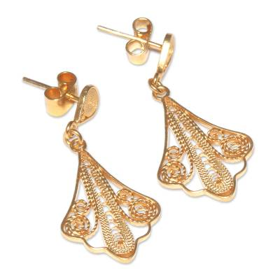 Gold plated filigree dangle earrings, 'Peruvian Lace' - 21K Gold Plated Filigree Dangle Earrings from Peru