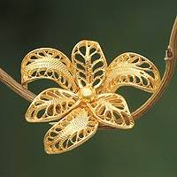 Gold vermeil filigree brooch pin, 'Tropical Orchid' - Vermeil Filigree Floral Brooch from Peru