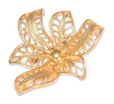 Gold vermeil filigree brooch pin, 'Tropical Orchid' - Handcrafted Floral Vermeil Filigree Brooch Pin