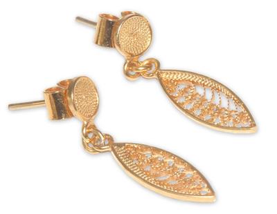Gold vermeil filigree dangle earrings, 'Leaf Promise' - Hand Made Vermeil Dangle Earrings from Peru