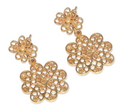 Gold vermeil filigree dangle earrings, 'Andean Blossom' - Artisan Crafted Gold Vermeil Filigree Dangle Earrings