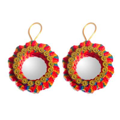 Cotton blend ornaments, 'Christmas Reflections' (pair) - Handmade Cotton Christmas Ornaments (Pair)
