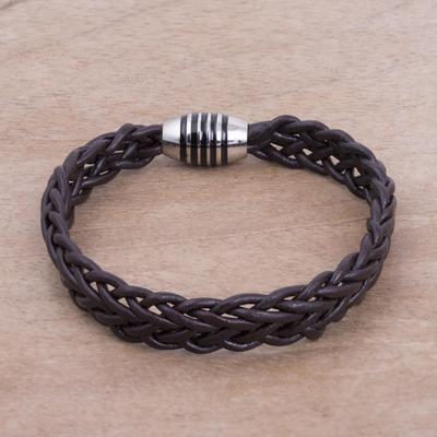 Men's braided leather bracelet, 'Brown Thorn' - Men's Fair Trade Leather Braided Bracelet