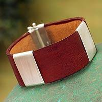 Men's sterling silver and leather wristband bracelet, 'Cajamarca Man'