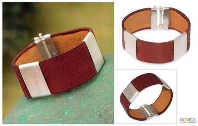 Men's sterling silver and leather wristband bracelet, 'Cajamarca Man' - Men's Leather Bracelet 925 Sterling Silver Handmade Jewelry