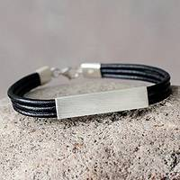 Men's sterling silver and leather wristband bracelet, 'Identity' - Unique Men's Leather Bracelet from Peru