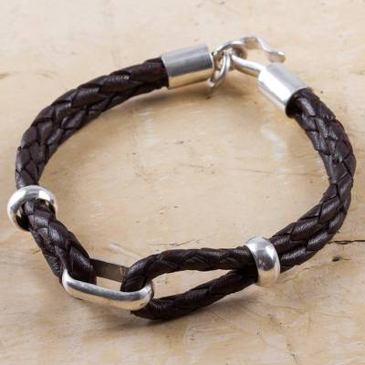 Men's sterling silver and leather bracelet, 'Naturally' - Handmade Men's Sterling Silver and Leather Bracelet