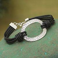 Sterling silver and leather cord bracelet, 'Sky Window' - Handcrafted Modern Leather and Sterling Silver Bracelet