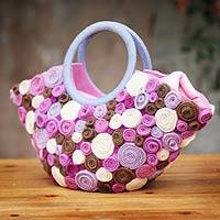 Wool handbag, 'Festival of Roses' - Wool handbag