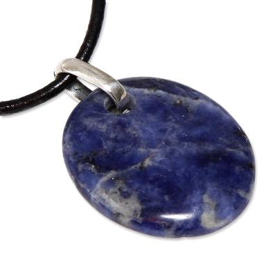Sodalite pendant necklace, 'Blue Princess' - Collectible Leather Cord Sodalite Necklace from Peru