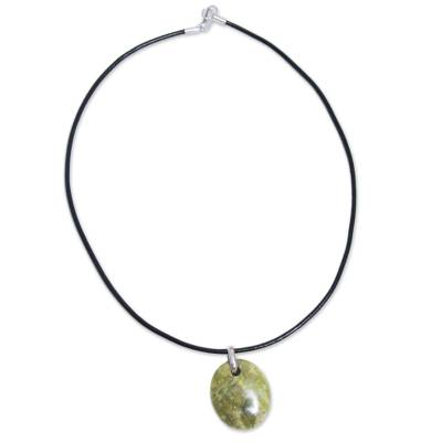 Serpentine pendant necklace, 'Green Goddess' - Serpentine Pendant Necklace