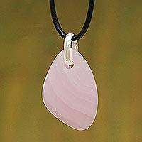 Manganoan calcite pendant necklace, 'Rose Princess' - Artisan Crafted Leather and Calcite Necklace