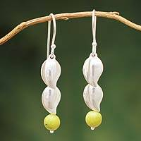 Serpentine dangle earrings, 'Leaf in the Wind' - Sterling Silver and Serpentine Dangle Earrings