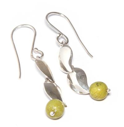 Serpentine dangle earrings, 'Leaf in the Wind' - Sterling Silver and Serpentine Dangle Earrings