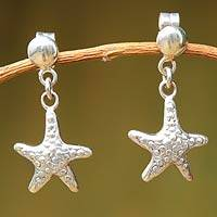 Sterling silver dangle earrings, 'Starfish of Tumbes' - Sterling silver dangle earrings