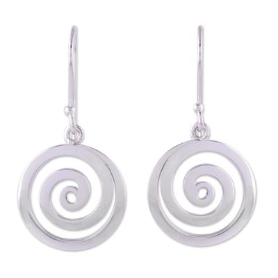 Sterling silver dangle earrings, 'Andean Whirlwind' - Sterling Silver Dangle Earrings