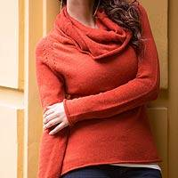 Cotton and alpaca sweater, 'Sunny Warmth' - Alpaca Wool and Cotton Cowl Neck Sweater