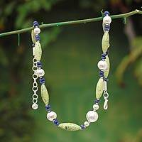 Sodalite and serpentine beaded necklace, 'Nature's Harmony' - Sodalite and serpentine beaded necklace