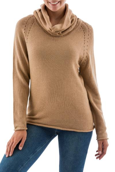 Cotton and alpaca sweater, 'Tan Warmth' - Cotton and alpaca sweater