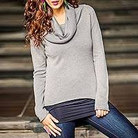 Cotton and alpaca sweater, 'Misty Warmth' - Handcrafted Women's Alpaca Blend Sweater from Peru