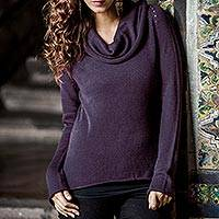 Cotton and alpaca sweater, 'Purple Warmth'