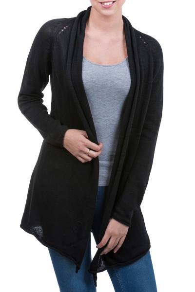 Cotton and alpaca blend cardigan, 'Andean Black' - Cotton Alpaca Blend Fashion Cardigan
