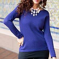 Cotton and alpaca sweater, 'Puno Purple' - Cotton and Alpaca Wool Blend Sweater